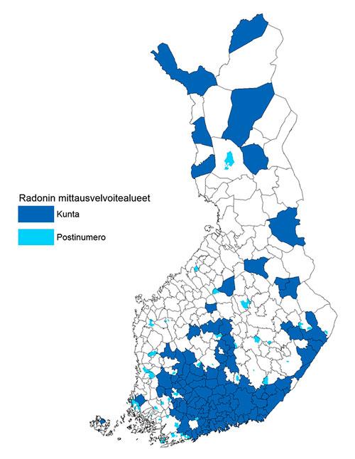 Suomen kartta - radonalueet